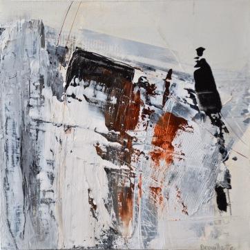 Entre les lignes I (12 x 12 po) Disponible à la galerie d'art Pauline T. Paquin
