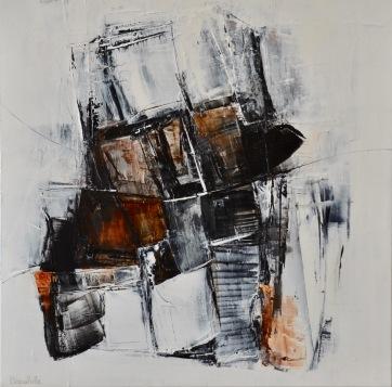 Entre les lignes VI (24 x 24) Disponible à la Galerie 806 Mont Tremblant