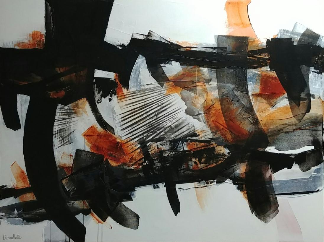 Entre les lignes VIII (36 x 48 po) Disponible à la galerie Pauline Paquin